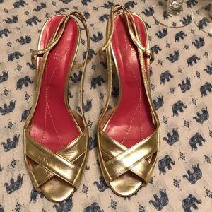 {Kate Spade} Metallic Gold Stiletto Slingb…
